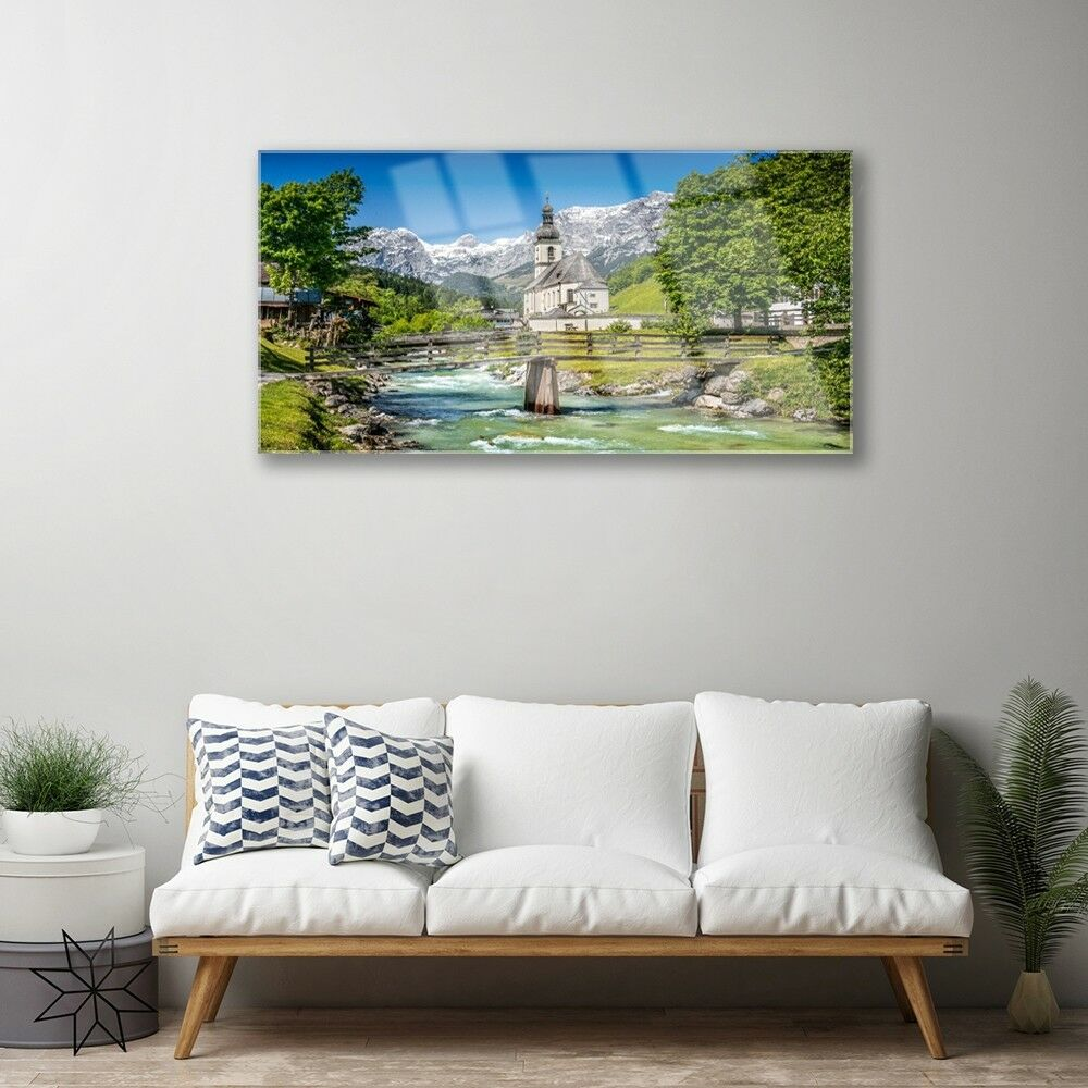 Murales vidrio 100x50 imagen puente presión sobre iglesia de cristal puente imagen natural Lago cd7e01