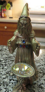 Masterworks fine pewter standing wizard with cauldron 1989 5 crystals