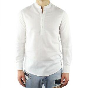 Camicia-Uomo-Collo-Coreana-Lino-Bianco-Serafino-Slim-Fit-Manica-Lunga-Estiva