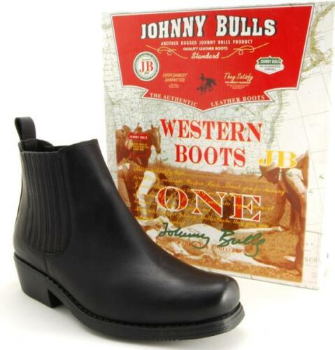 38-46 Herren Cowboystiefel Boots JOHNNY BULLS Stiefeletten Echtleder Schwarz Gr