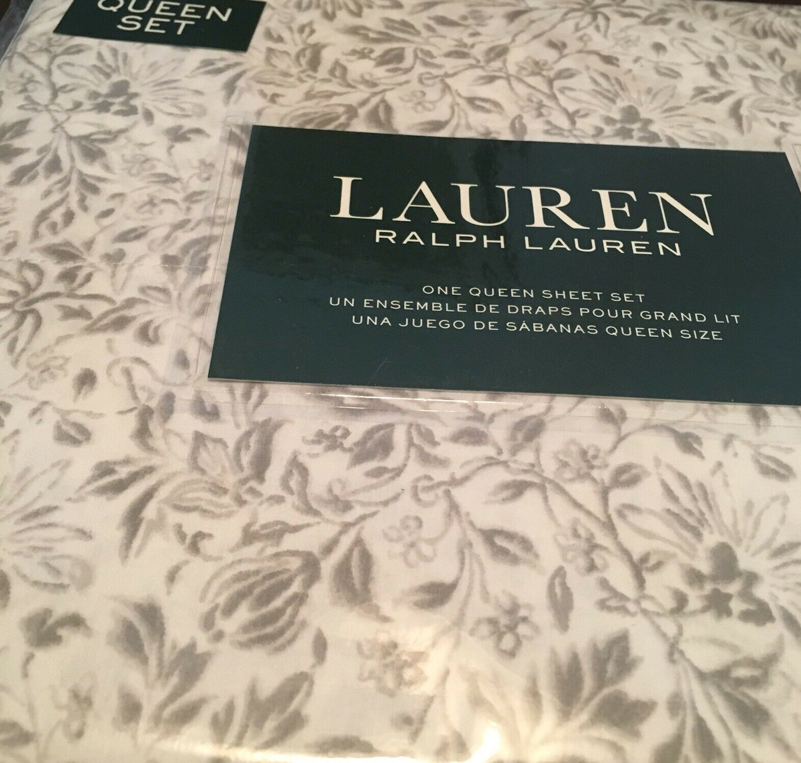 Ralph Lauren Königin XDP Sheet Set 4p TAUPE & CREAM Kunstistic Floral NIP- Free Ship