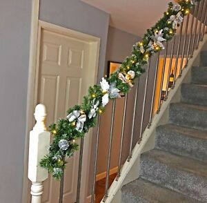 Details About Pre Lit Silver Luxury Staircase Christmas Garland Warm White Lights 1 8m 2 7m