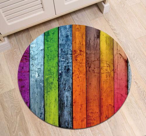 Rustic Colored Retro Wood Planks Round Floor Mat Kids Bedroom Carpet Area Rugs