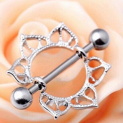 2Pcs Foxy Surgical Steel Floral Flowers Body Piercing Nipple Shield Rings Bar