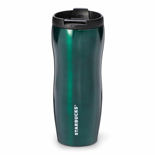 d2fde4ba9b0 Starbucks Coffee Classic Steel Lucy GREEN Slim Mug Travel Tumbler - 12oz * xmas