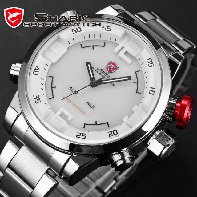 Men 3D Shark Digital LED Date Day Stainless Steel Sport Alarm Quartz Wrist Watch
