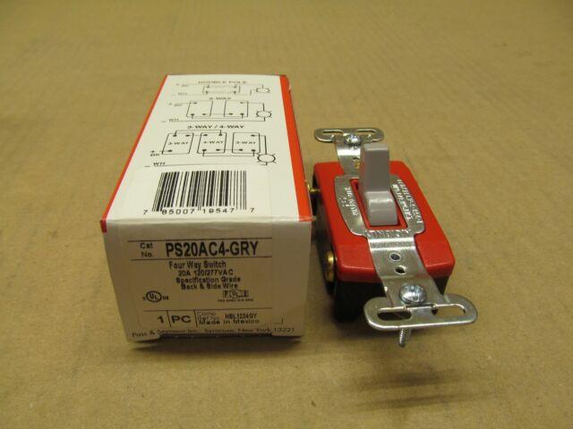 New Pass /& Seymour PS20AC4-L Four Way Locking Switch 20 Amp 120//277 Volt