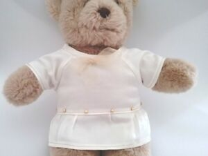 Teddy-Bear-Clothes-Handmade-Charlotte-Cream-Satin-Dress-with-Gold-Trims