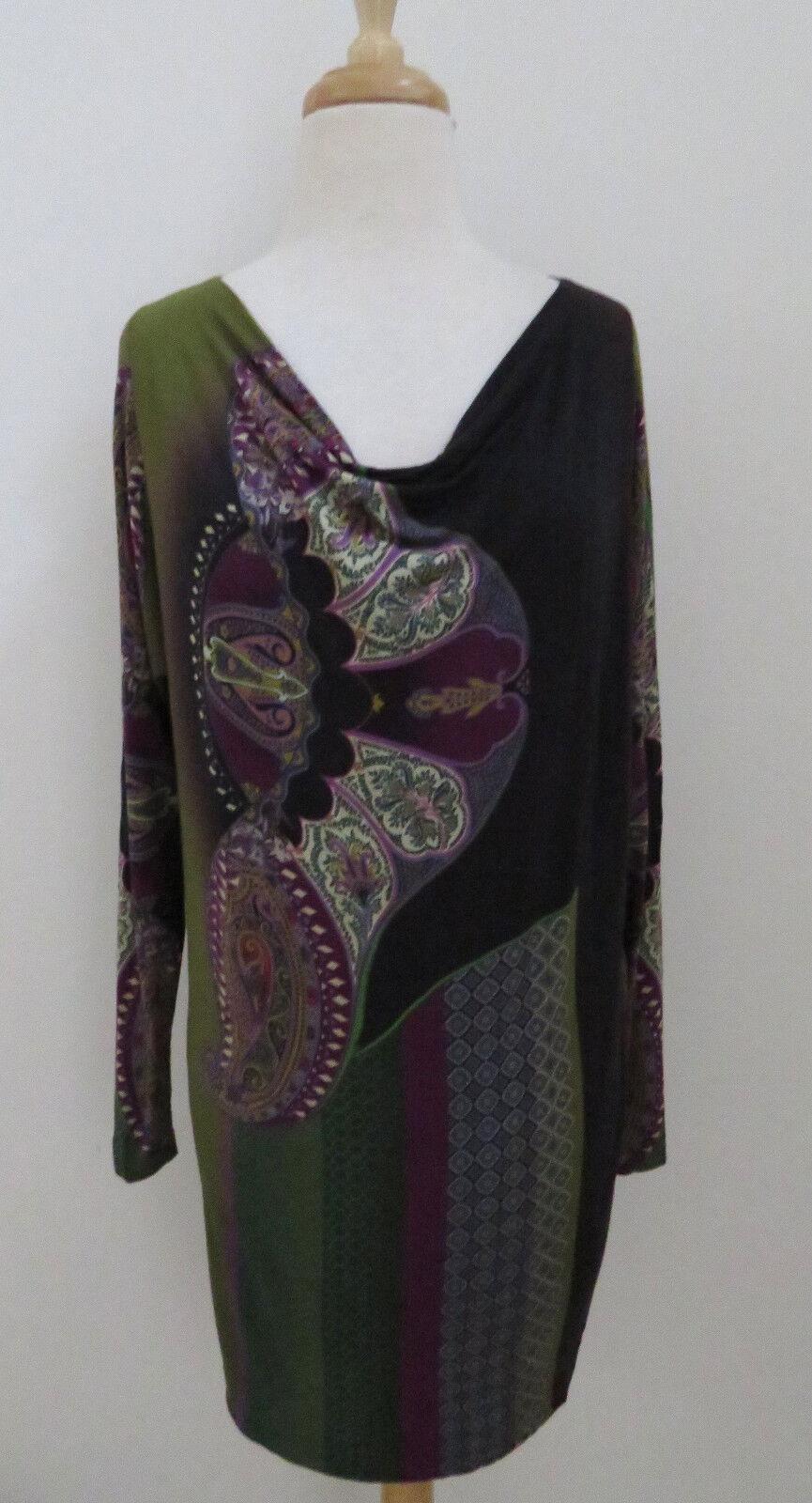 ETRO Paisley print jersey shift dress sz 42 Draped neck