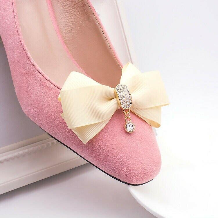 1 Pair Crystal Satin Bows Shoe Clips Chic Wedding Bridal High Heels Charm Fabric