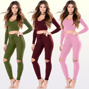 Women-Sports-Set-Casual-Tracksuit-Hoody-Crop-Tops-Sweatshirt-Long-Pants-Suit