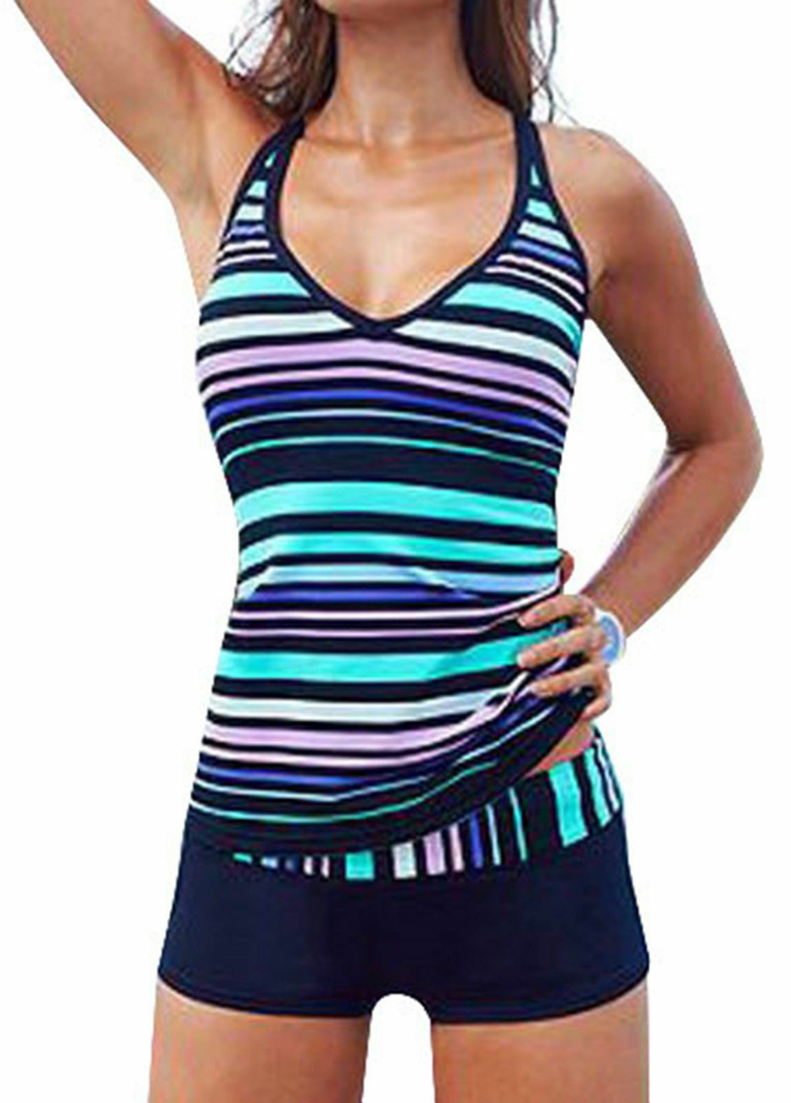 a00a0690fb10a Details about Women Sporty Tankini Sets With Boy Shorts Swimwear Two Piece  Swimsuit UK 6-20