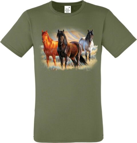 //Nature Motif Modèle three horses T shirt dans olivton avec un cheval animal