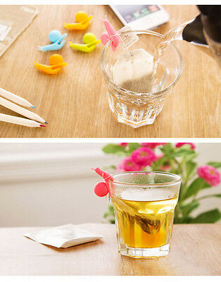 5pcs Cute Snail Shape Silicone Tea Bag Holder Cup Mug Candy Colors Gift Set COOL