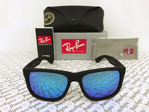 44e9985e115b Ray-Ban Justin RB4165 622 55 Wayfarer Sunglasses Matte Black Blue ...