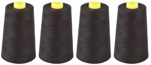 X4 cônes Noir fil à coudre 120s polyester filé Surjetage 5000 yards
