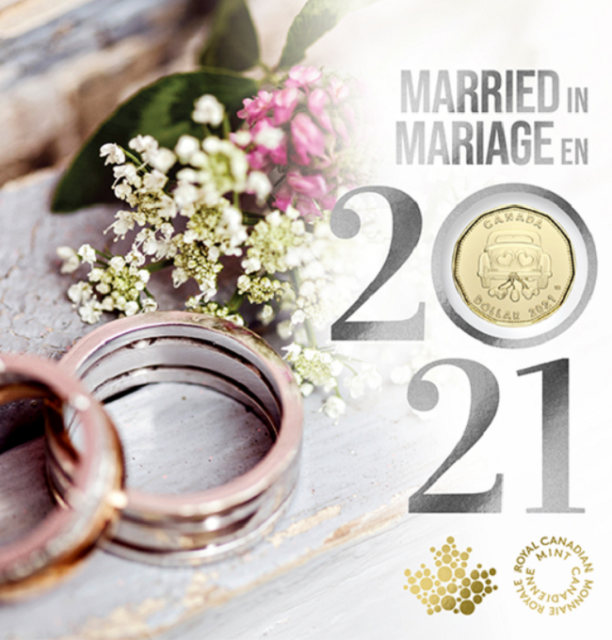 Married In 2021 Gift Card Set of 5 coins SPECIAL $1 COIN ONLY COMES IN THIS SET