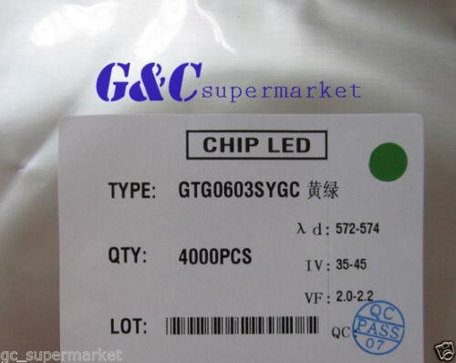 4000 pcs one reel SMD SMT 0603 Super bright GREEN LED lamp Bulb GOOD QUALITY