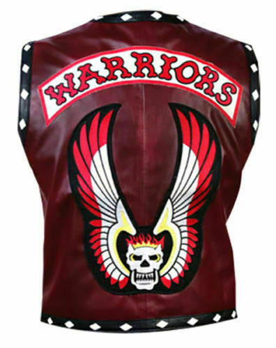 New Halloween The Warriors Vintage Biker Maroon männer leder Vest Classic jacke