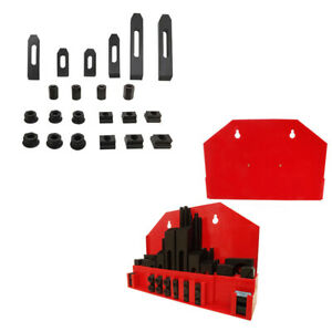 """52 PC Clamping Kit T-Slot 7//16/"""" End Clamp Flange Coupling Nut Step Block Set"""