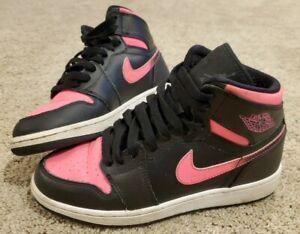 Nike Air Jordan 1 Retro High GS Black Hyper Pink White 332148-019 Size 4Y