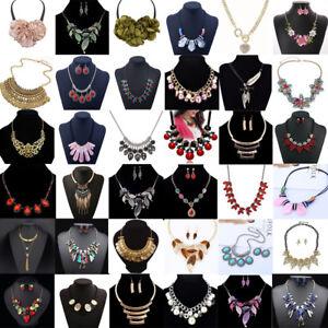 Fashion-Womens-Crystal-Rhinestone-Bib-Choker-Pendant-Statement-Chunky-Necklace