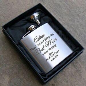 engraved 6oz wedding hip flask gift box for best man usher dad