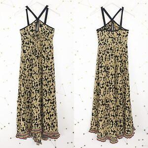 Plenty-Tracy-Reese-Dress-Size-4-Black-Brown-Geometric-Print-Halter-Pleated-Hem