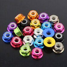 4mm Nylon Insert Hex Flange Lock Nuts Aluminum Alloy Multicolor Choose M4