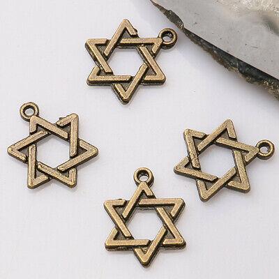 60pcs antiqued bronze color 2sided pentagram star  design  charms  EF3387