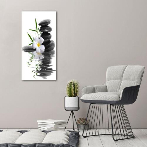 Wand-Bild Kunstdruck aus Hart-Glas Hochformat 50x100 Orchidee und Steine