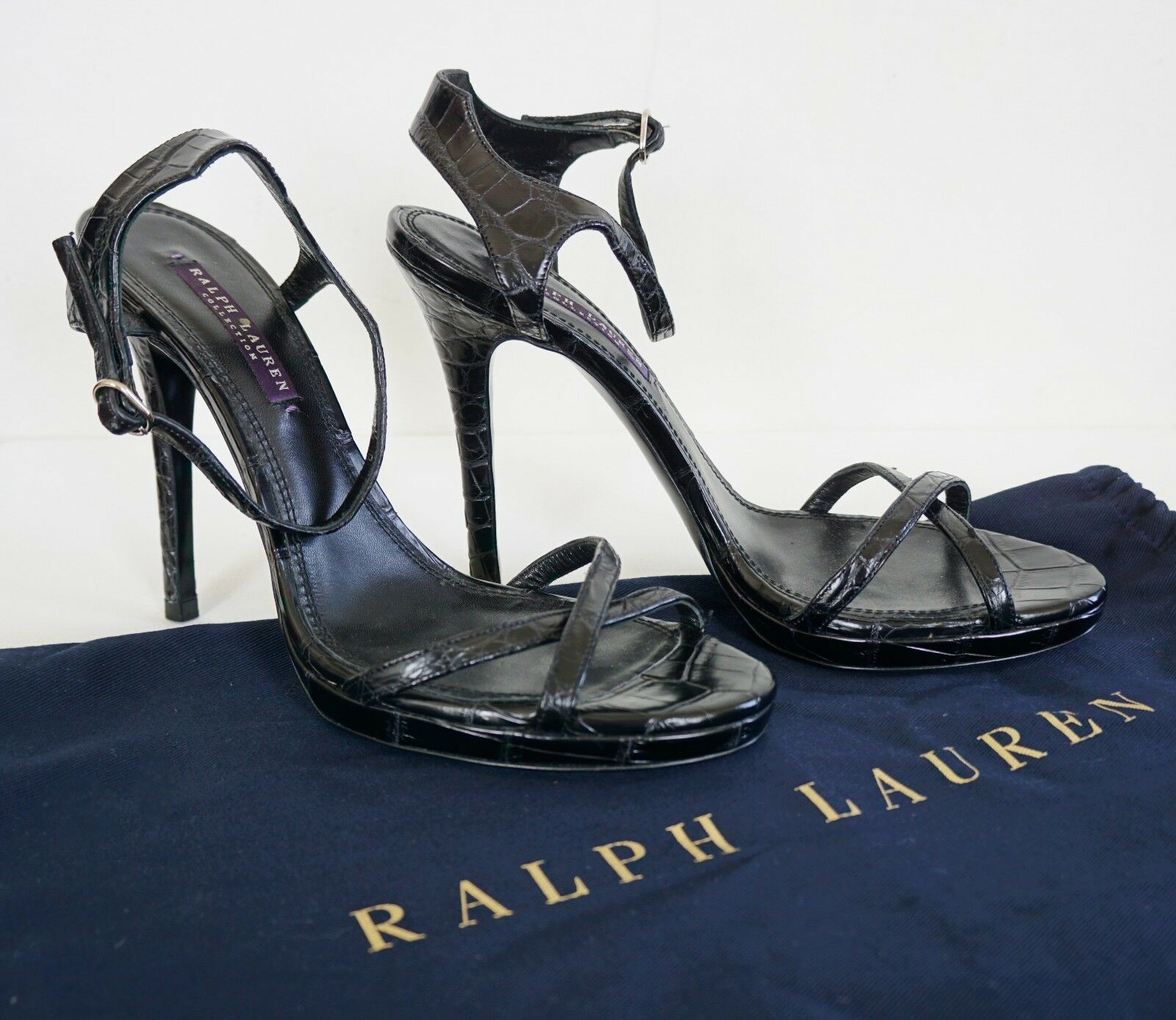 $2500 New RALPH LAUREN COLLECTION *DAKOTA* GENUINE CROCODILE Heels Sandals 9.5B