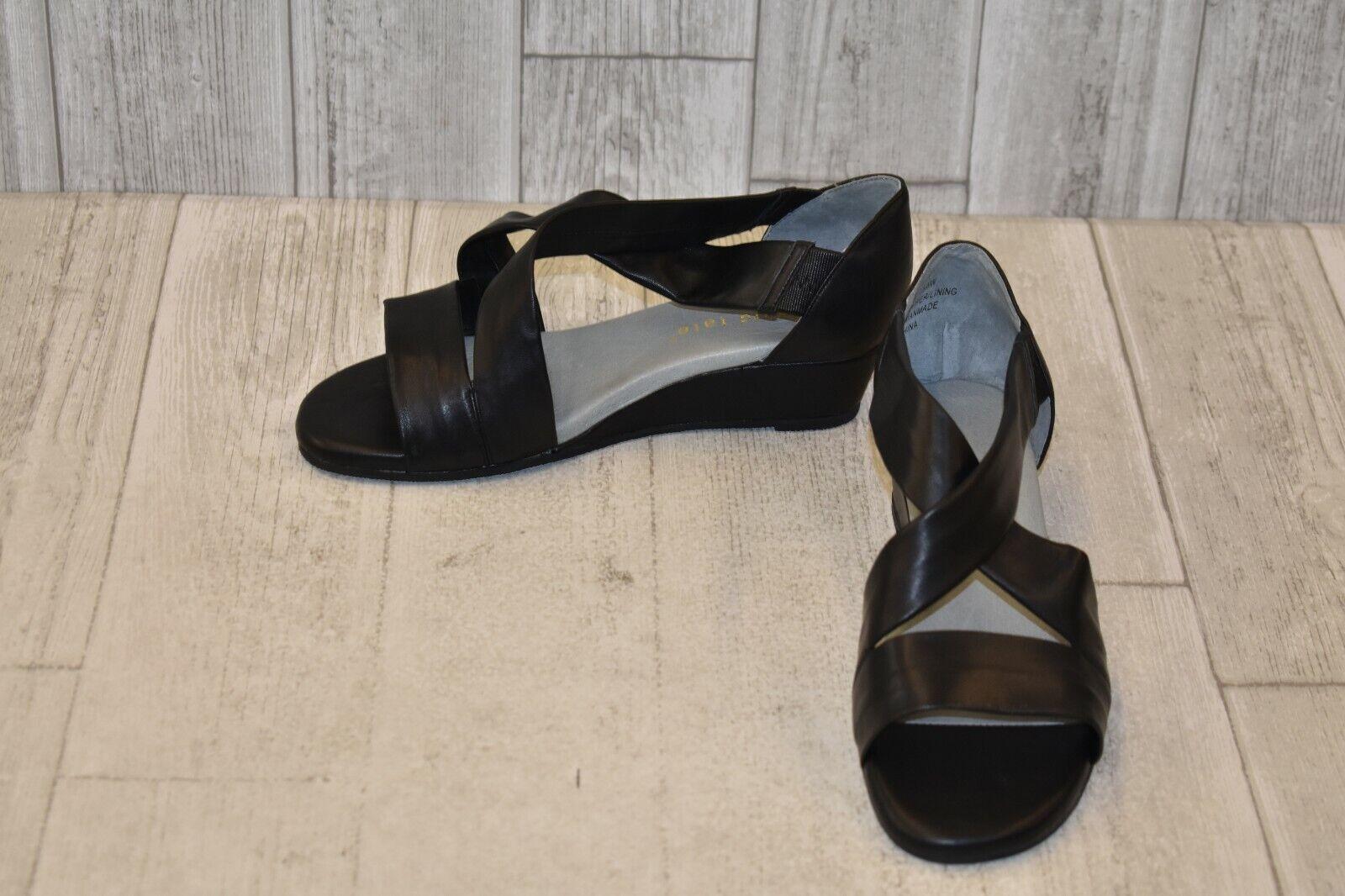 David Tate Swell Cross Strap Wedge Sandal - Women's Size 7.5 WW - Black