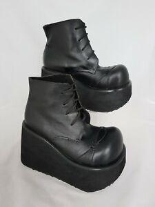 Nine-West-Black-Leather-Lace-Up-Platform-Goth-Punk-Ankle-Boots-Size-5