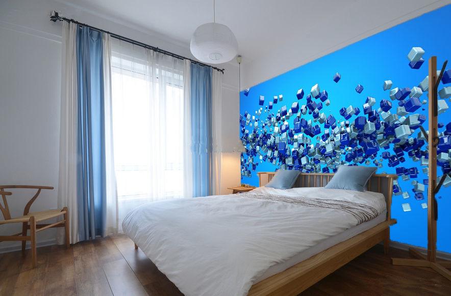 3D Cube Blau Pattern 67 Wall Paper Wall Print Decal Wall Deco Indoor Mural Lemon