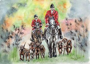 English-Hunting-original-watercolor-wildlife-landscape-painting-fox-dog-horse