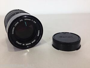 Vintage-CANON-FD-135mm-f3-5-Manual-Focus-Telephoto-SLR-Camera-Lens-w-HOOD-Retro