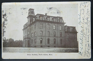 Drury-Academy-North-Adams-Mass-1906-Flag-on-1c-Franklin-02-Postcard-Ak-Lot8592