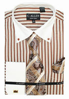 C. Allen Mens Dress shirts Tie Hanky Combo French cuff Striped Pattern Brown