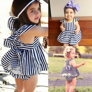 Baby Girls Clothes Summer Sunsuit Infant Outfit Stripe Backless Dress Briefs Set