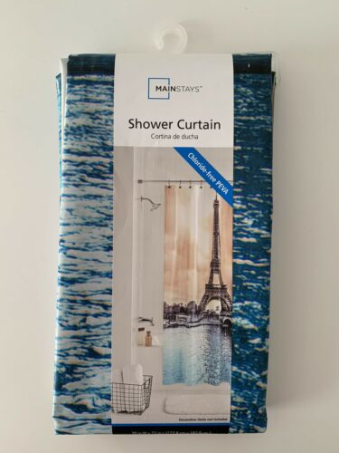 New Mainstays Paris Eiffel Tower Shower Curtain Blue//brown Free shipping