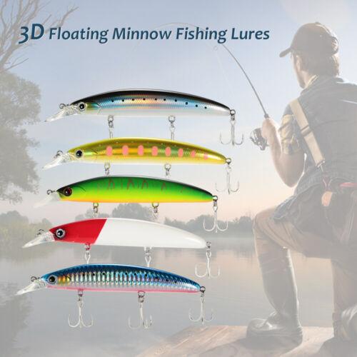 Trulinoya 11cm 3D Sinking Minnow Fishing Lures Bait Hooks Bass Tackle HOT D5L8