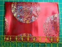 Fabric Silk From Vietnam Red With Circles