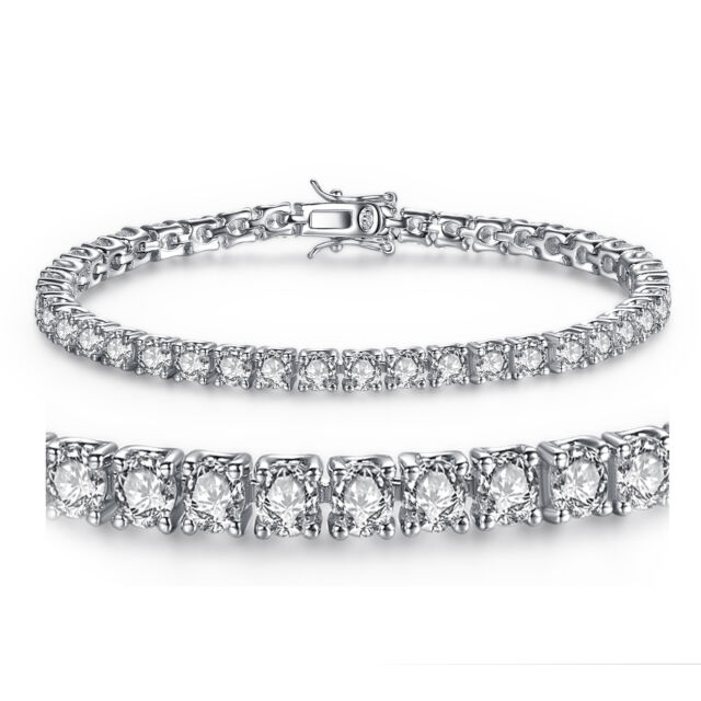 925 Solid Sterling Silver Round Cubic Zirconia Women S Tennis Bracelet