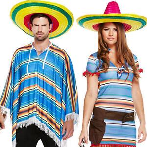 Ladies Mexican Woman Fancy Dress Women/'s Costume Poncho Sombrero