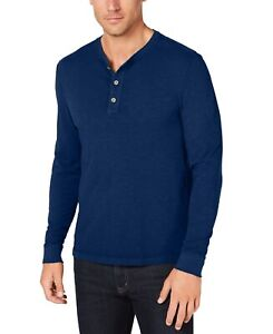 Club-Room-NEW-Solid-Navy-Blue-Mens-US-Size-2XL-Long-Sleeve-Henley-Shirt-49-044