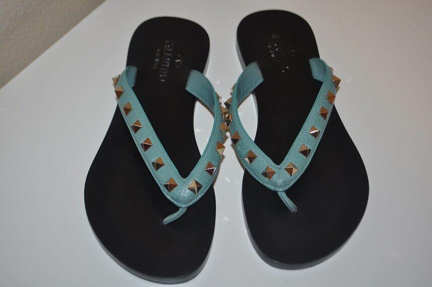 695+ VALENTINO Rockstud Sandal Flip Flop Blue verde Leather Sandal 38 / 8 Shoes