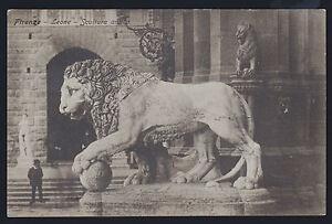 FIRENZE-CARTOLINA-LEONE-SCULTURA-ANTICA-FP-VG-1909