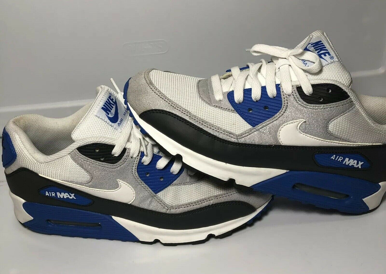 5d8ebf4516ee Nike Air Max 90 white anthracite obsidian soar bluee bluee bluee 325018-050  US Mens