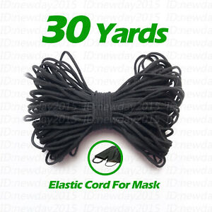 Black 30 Yards 3mm Round Elastic Band Cord Sewing Soft For Face